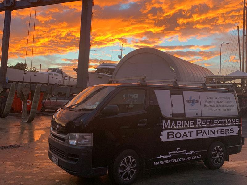 Marine Reflections van at marina