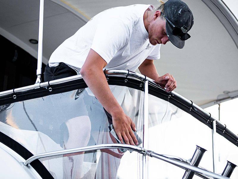 Cleaning Boat PVC clears